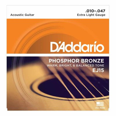 מיתרים לגיטרה אקוסטית דדריו - Daddario Phosphor Bronze EJ15 Acoustic Guitar Strings - 10-47