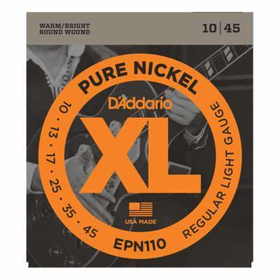 מיתרים לגיטרה חשמלית דדריו - 10-45 - Daddario EPN110 Pure Nickel