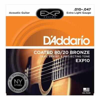 מיתרים לגיטרה אקוסטית דדריו - 10-47 - Daddario EXP10 Coated 80/20 Bronze Acoustic Guitar Strings