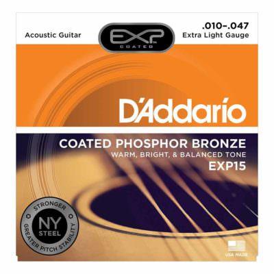 מיתרים לגיטרה אקוסטית דדריו - 10-47 - Daddario EXP15 Coated Phosphor Bronze Guitar Strings