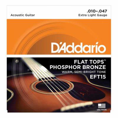 מיתרים לגיטרה אקוסטית דדריו - 10-47 - Daddario EFT15 Phosphor Bronze Flat Tops