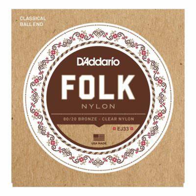 מיתרים לגיטרה קלאסית דדריו - Daddario EJ33 Folk 80/20 Bronze Clear Nylon Ball End