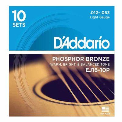 10 סטים מיתרים לגיטרה אקוסטית דדריו - Daddario Phosphor Bronze EJ16-10P Acoustic Guitar Strings 10Pack - 12-53