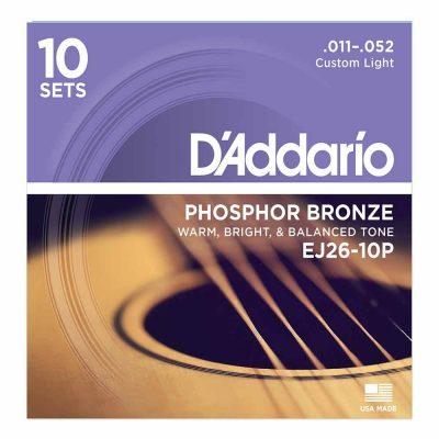 10 סטים מיתרים לגיטרה אקוסטית דדריו - Daddario Phosphor Bronze EJ26-10P Acoustic Guitar Strings 10Pack - 11-52