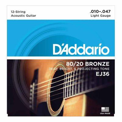מיתרים לגיטרה 12 אקוסטית דדריו - 10-47 - Daddario EJ36 80/20 Bronze Acoustic 12 String Guitar Strings