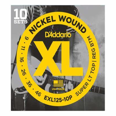10 סטים מיתרים לגיטרה חשמלית דדריו - 9-46 - Daddario EXL125-10P Nickel Wound