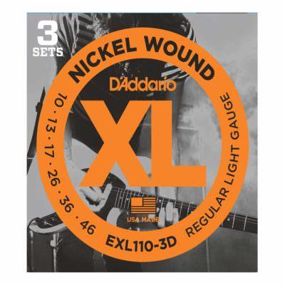 3 סטים מיתרים לגיטרה חשמלית דדריו - 10-46 - Daddario EXL110-3D Nickel Wound 3Pack