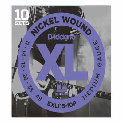 10 סטים מיתרים לגיטרה חשמלית דדריו - 11-49 - Daddario EXL115-10P Nickel Wound 10Pack