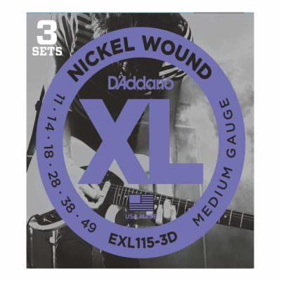 3 סטים מיתרים לגיטרה חשמלית דדריו - 11-49 - Daddario EXL115-3D Nickel Wound 3Pack