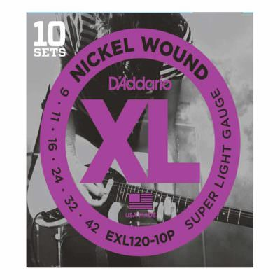 סט 10 מיתרים לגיטרה חשמלית דדריו - 9-42 - Daddario EXL120-10P Nickel Wound