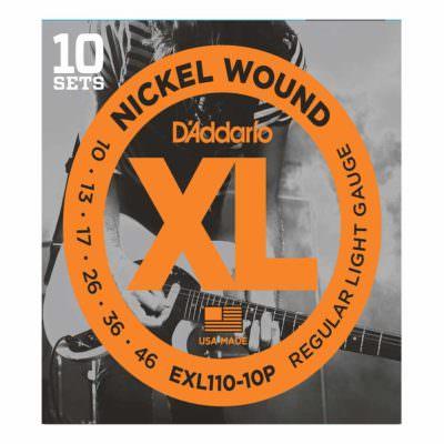 10 סטים מיתרים לגיטרה חשמלית דדריו - 10-46 - Daddario EXL110-10P Nickel Wound 10Pack