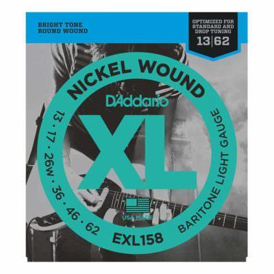 מיתרים לגיטרה חשמלית דדריו - 13-62 - Daddario EXL158 Nickel Wound Baritone