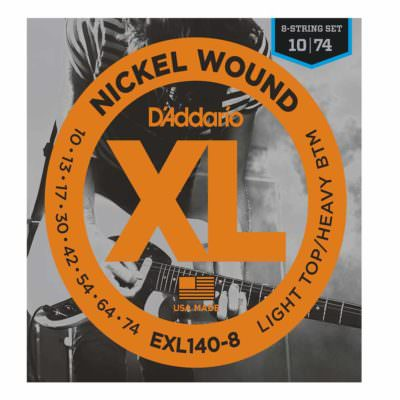 מיתרים לגיטרה 8 חשמלית דדריו - 10-74 - Daddario EXL140-8 Nickel Wound