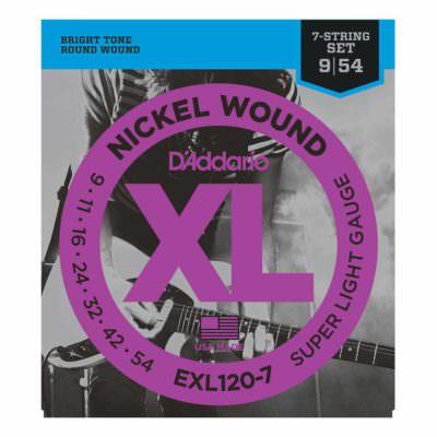מיתרים לגיטרה 7 חשמלית דדריו - 9-54 - Daddario EXL120-7 Nickel Wound 7 String