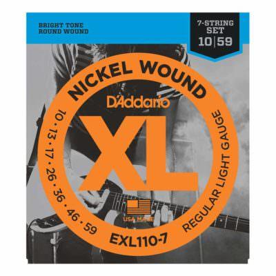 מיתרים לגיטרה 7 חשמלית דדריו - 10-59 - Daddario EXL110-7 Nickel Wound 7 String
