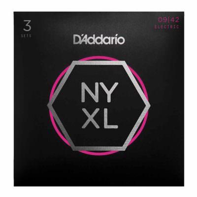 סט 3 מיתרים לגיטרה חשמלית דדריו - 09-42 - Daddario NYXL0942-3P Nickel Wound 3Pack