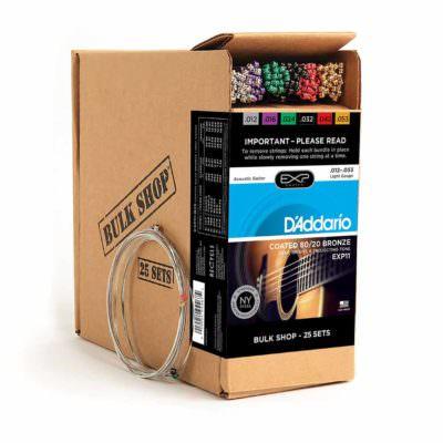 25 סטים מיתרים לגיטרה אקוסטית דדריו - 12-53 - Daddario EXP11-B25 Coated 80/20 Bronze Acoustic Guitar Strings 25Pack