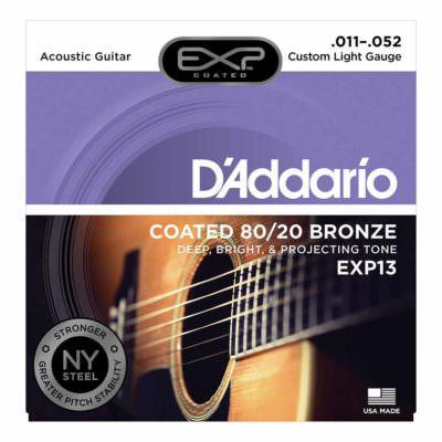 מיתרים לגיטרה אקוסטית דדריו - 11-52 - Daddario EXP13 Coated 80/20 Bronze Acoustic Guitar Strings