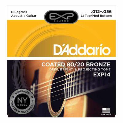 מיתרים לגיטרה אקוסטית דדריו - 12-56 - Daddario EXP14 Coated 80/20 Bronze Acoustic Guitar Strings