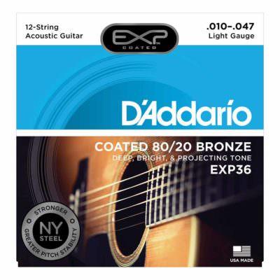 מיתרים לגיטרה 12 אקוסטית דדריו - 10-47 - Daddario EXP36 Coated 80/20 Bronze 12 String Acoustic Guitar Strings