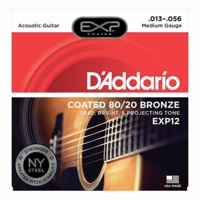 מיתרים לגיטרה אקוסטית דדריו - 13-56 - Daddario EXP12 Coated 80/20 Bronze Acoustic Guitar Strings