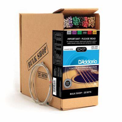 סט 25 מיתרים לגיטרה אקוסטית דדריו - 12-53 - Daddario EXP16-B25 Coated Phosphor Bronze Guitar Strings 25Pack