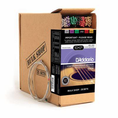 מיתרים לגיטרה אקוסטית דדריו - 11-52 - Daddario EXP26 Coated Phosphor Bronze Guitar Strings