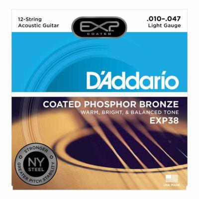מיתרים לגיטרה 12 אקוסטית דדריו - 10-47 - Daddario EXP38 Coated Phosphor Bronze 12 String Guitar Strings