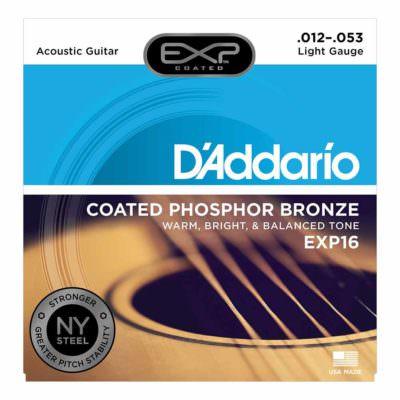 מיתרים לגיטרה אקוסטית דדריו - 12-53 - Daddario EXP16 Coated Phosphor Bronze Guitar Strings