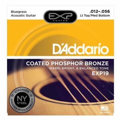 מיתרים לגיטרה אקוסטית דדריו - 12-56 - Daddario EXP19 Coated Phosphor Bronze Guitar Strings