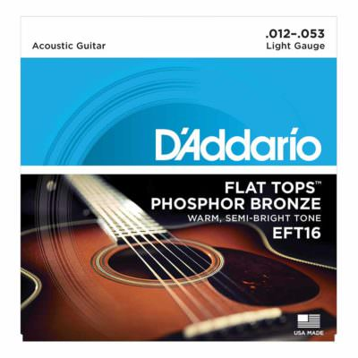 מיתרים לגיטרה אקוסטית דדריו - 12-53 - Daddario EFT16 Phosphor Bronze Flat Tops Guitar Strings