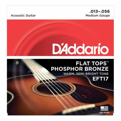 מיתרים לגיטרה אקוסטית דדריו - 13-56 - Daddario EFT17 Phosphor Bronze Flat Tops Guitar Strings