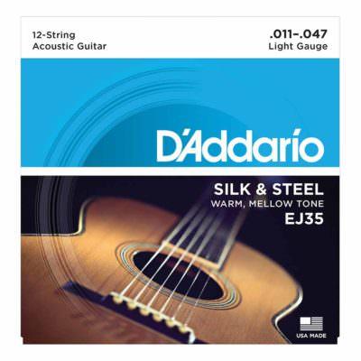 מיתרים לגיטרה 12 אקוסטית דדריו - 11-47 - Daddario EJ35 Silk & Steel 12-String Folk Guitar Strings