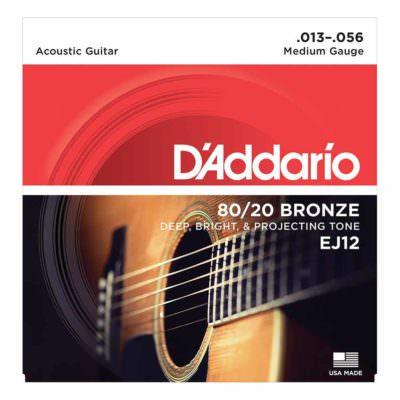 מיתרים לגיטרה אקוסטית דדריו - 13-56 - Daddario EJ12 80/20 Bronze Acoustic Guitar Strings