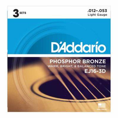 3 סטים מיתרים לגיטרה אקוסטית דדריו - Daddario Phosphor Bronze EJ16-3D Acoustic Guitar Strings 3Pack - 12-53