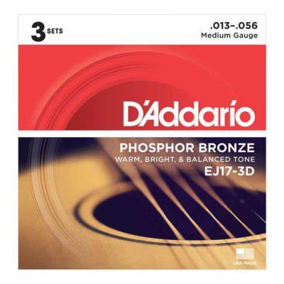 3 סטים מיתרים לגיטרה אקוסטית דדריו - Daddario Phosphor Bronze EJ17-3D Acoustic Guitar Strings 3Pack - 13-56