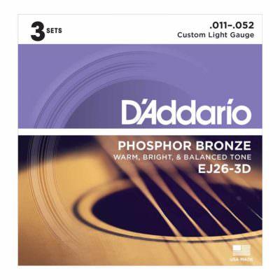 3 סטים מיתרים לגיטרה אקוסטית דדריו - Daddario Phosphor Bronze EJ26-3D Acoustic Guitar Strings 3Pack - 11-52