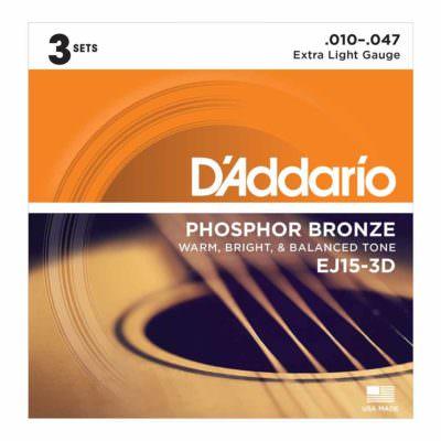 3 סטים מיתרים לגיטרה אקוסטית דדריו - Daddario Phosphor Bronze EJ15-3D Acoustic Guitar Strings 3Pack - 10-47