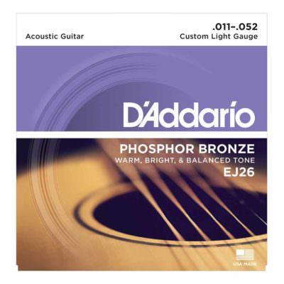 מיתרים לגיטרה אקוסטית דדריו - Daddario Phosphor Bronze EJ26 Acoustic Guitar Strings - 11-52