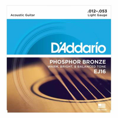 מיתרים לגיטרה אקוסטית דדריו - Daddario Phosphor Bronze EJ16 Acoustic Guitar Strings - 12-53