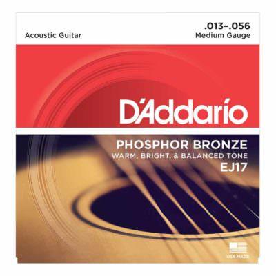 מיתרים לגיטרה אקוסטית דדריו - Daddario Phosphor Bronze EJ17 Acoustic Guitar Strings - 13-56