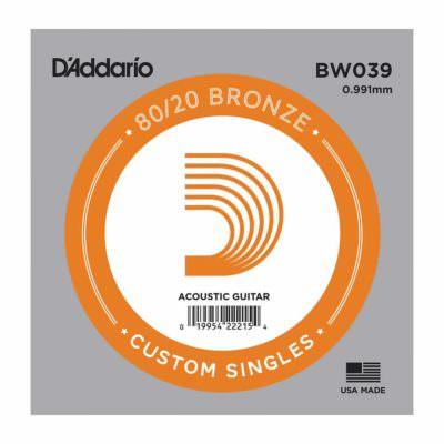 מיתר בודד לגיטרה אקוסטית דדריו - Daddario 80/20 Bronze Wound Single - 032