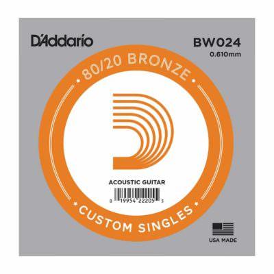 מיתר בודד לגיטרה אקוסטית דדריו - Daddario 80/20 Bronze Wound Single - 024
