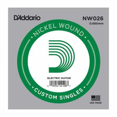 מיתר בודד לגיטרה חשמלית דדריו - Daddario Single Nickel Wound - 026
