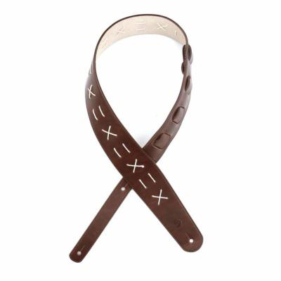 רצועה לגיטרה עור חום מעוטר דדריו - Daddario L25W1501 Planet Waves, Brown Decorative Stitch Leather Strap
