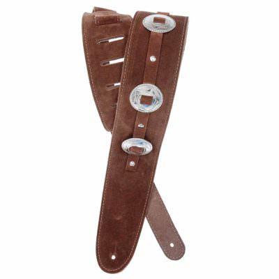 רצועה לגיטרה זמש חום קונצ'וס דדריו - Daddario 25SSC01-DX Planet Waves, Brown Suede Conchos Guitar Strap