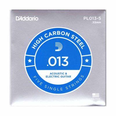 5 יחידות מיתר בודד לגיטרה דדריו - Daddario PL013-5 Plain Steel Single - 013