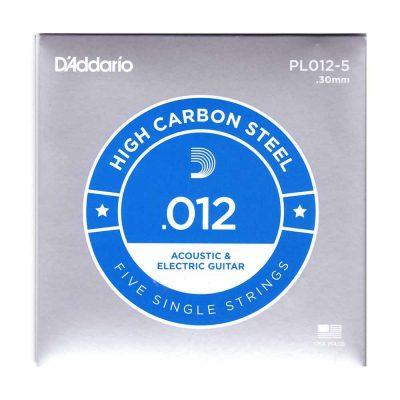 5 יחידות מיתר בודד לגיטרה דדריו - Daddario PL012-5 Plain Steel Single - 012