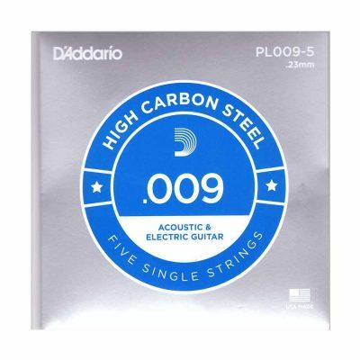 5 יחידות מיתר בודד לגיטרה דדריו - Daddario PL009-5 Plain Steel Single - 009