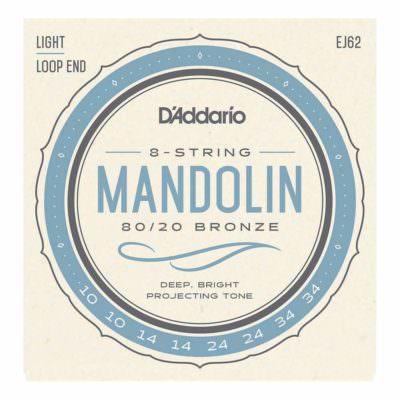 מיתרים למנדולינה דדריו - 10-34 - Daddario EJ62 80/20 Bronze Mandolin Strings Light